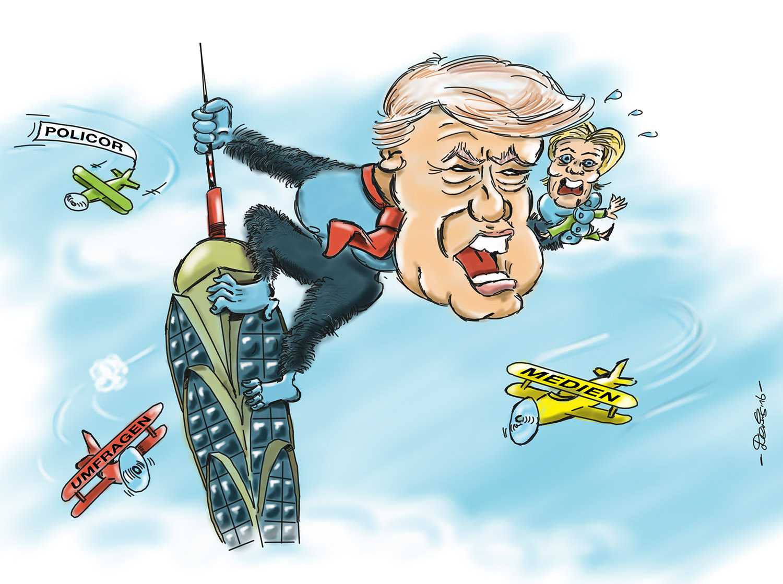 Karikatur Trump Clinton King Kong